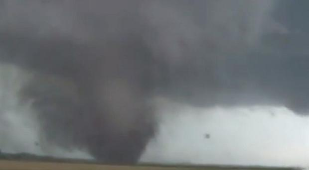 Twin tornadoes hit the small US town of Pilger, Nebraska (AP/StormChasingVideo.com)