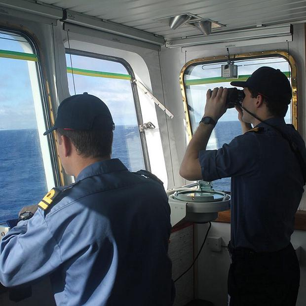 The crew on board survey ship HMS Echo helps the search in the southern Indian Ocean for the missing Malaysia Airlines plane (MoD/PA)