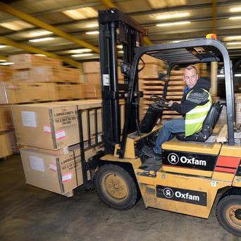 Humanitarian aid bound for Syria inside Oxfam's warehouse in Bicester
