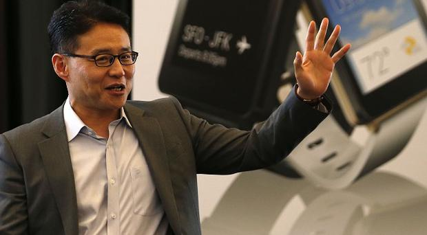 Chris Yie of LG introduces LG G Watch during a presentation at Google I/O in San Francisco (AP/LG Electronics)