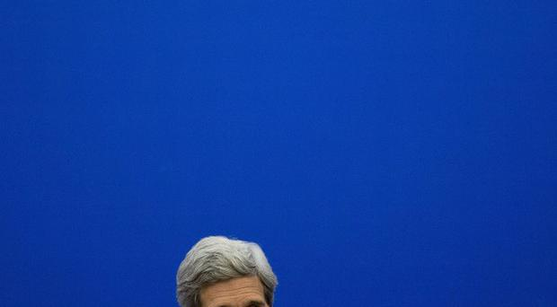 US secretary of state John Kerry speaks at a news briefing after the US-China strategic and economic dialogue in Beijing (AP)