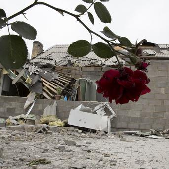 A house that was damaged during shelling in the city of Donetsk, eastern Ukraine (AP)