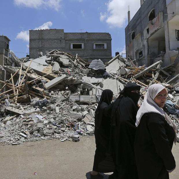 What remains of a house destroyed by an overnight Israeli missile strike in Rafah, in the southern Gaza Strip (AP)