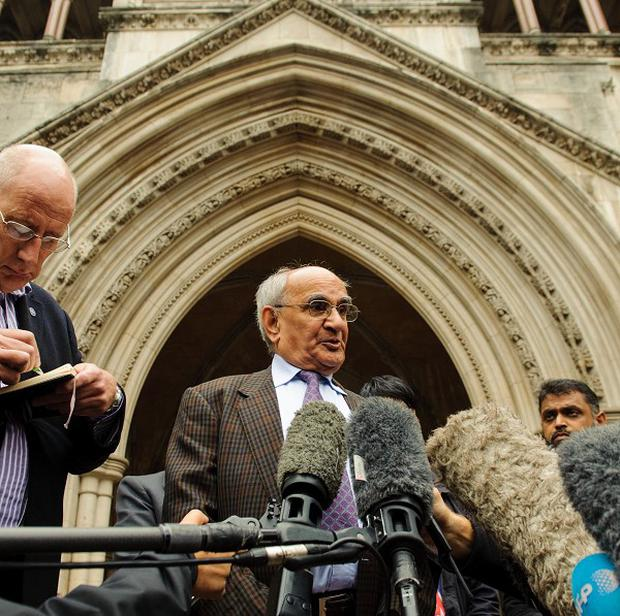 Ashfaq Ahmad, the father of Babar Ahmad, outside the Royal Courts of Justice, after an appeal against extradition was refused