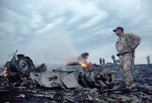 Horror: people inspect crash site of Malaysia Airlines flight MH17 passenger plane