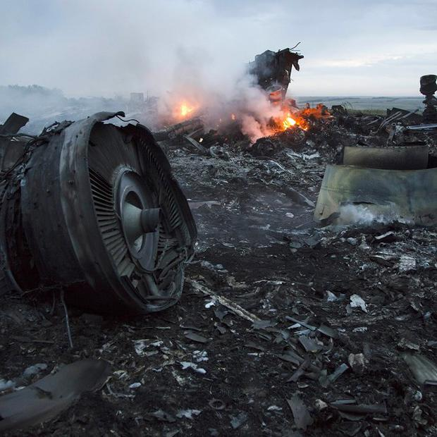 Debris at the crash site near the village of Grabovo (AP)