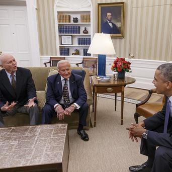 President Barack Obama meets with Apollo 11 astronauts Buzz Aldrin and Michael Collins (AP)