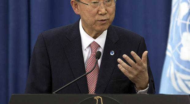 United Nations Secretary-General Ban Ki-moon speaking in the West Bank city of Ramallah (AP)