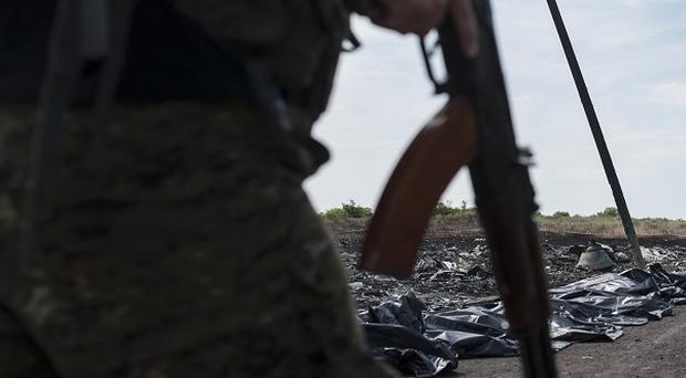 Two Ukrainian Sukhoi-25 fighters were shot down over an area called Savur Mogila (AP)