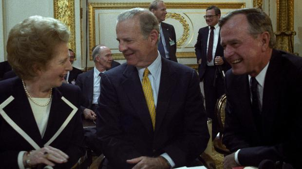 George Bush senior, far right, with Prime Minister Margaret Thatcher and US secretary of state James Baker at a Nato meeting in London