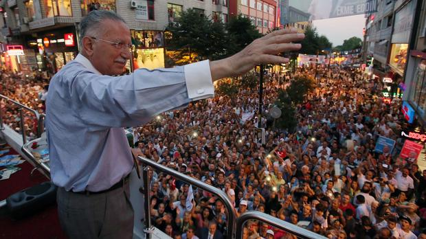 Ekmeleddin Ihsanoglu, the main opposition candidate, addresses a rally in Istanbul, Turkey (AP)