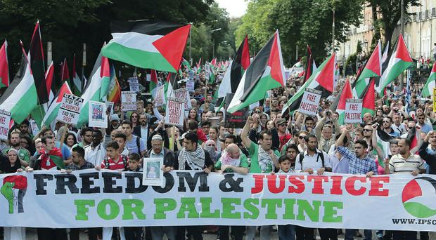 Thousands of protesters take to the streets of Dublin to express their opposition to the ongoing military action in Gaza