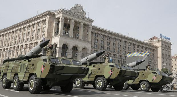 Ukrainian missiles pass down Kiev's main street during a military parade to mark the 23rd anniversary of Ukraine's Independence (AP)