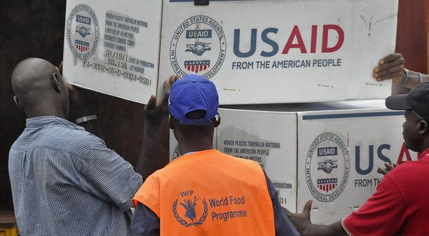 American aid goods are loaded onto a truck to be used in the fight against the Ebola virus spreading in the city of Monrovia, Liberia (AP)