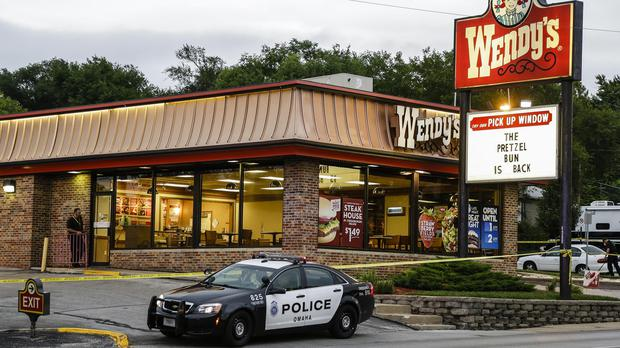 The Wendy's restaurant in Omaha, where a sound operator with the Cops reality TV show was killed accidentally by police tackling a robbery (AP)