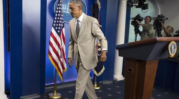 Barack Obama has been teased on Twitter for his choice of suit (AP)