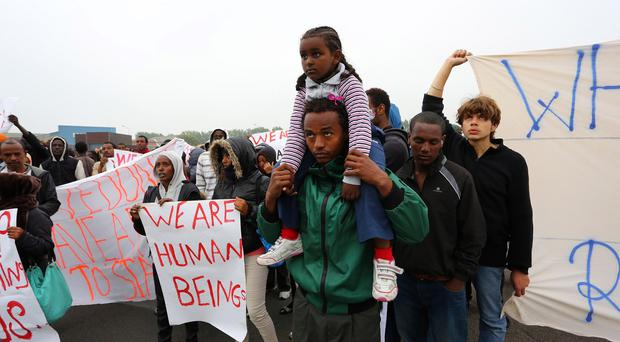 Migrants in Calais, France, have demanded human rights protection, alleging police brutality against them