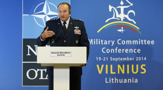 General Philip Breedlove addresses the media following the meeting in Vilnius (AP)