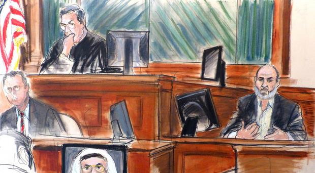 Courtroom sketch shows Osama bin Laden's son-in-law, Sulaiman Abu Ghaith, testifying at his trial in New York (AP)