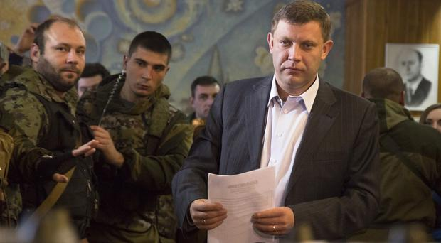Alexander Zakharchenko casts his ballot during elections in the city of Donetsk. (AP)
