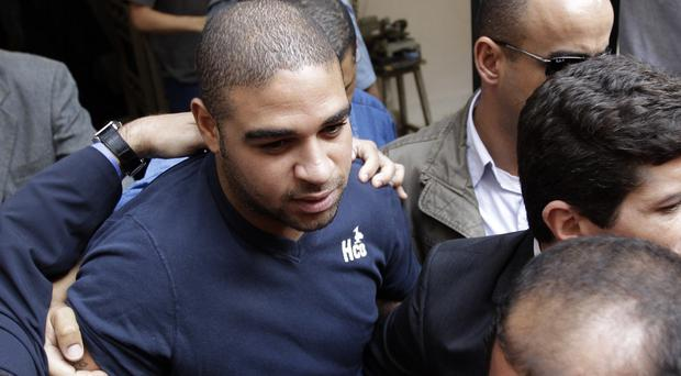 Adriano after being interviewed by police over allegations of links to drug gangs in Rio de Janeiro. (AP)