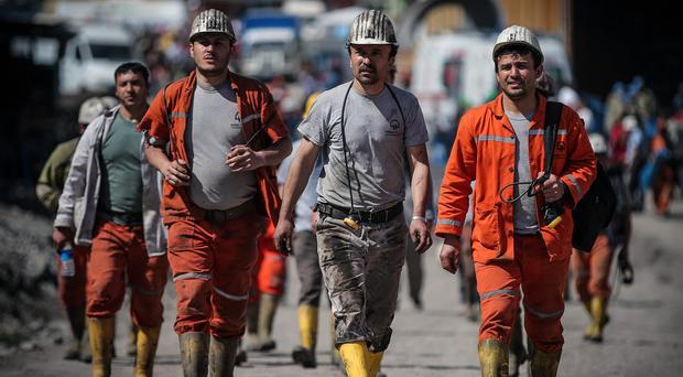 Rescue workers at a coal mine in Turkey. (AP)