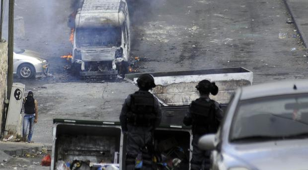 Israeli forces and Palestinian protesters have clashed in east Jerusalem (AP)