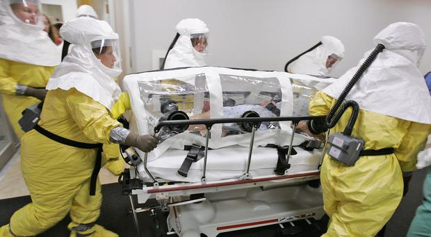 An Ebola drill at Nebraska Medical Centre in Omaha. (AP)