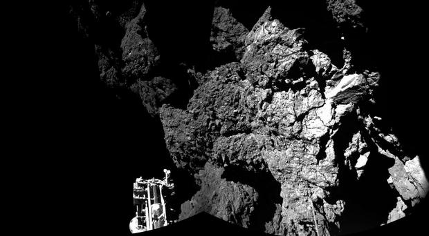 Rosetta's lander Philae on the surface of the comet (European Space Agency)
