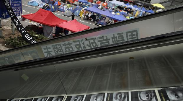 Tents set up by pro-democracy protesters outside government headquarters in Hong Kong (AP Photo/Vincent Yu)