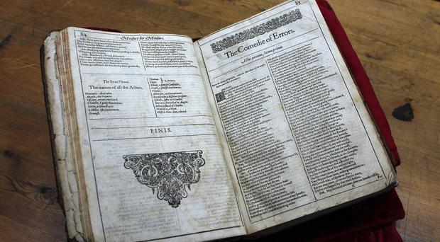 The newly-discovered Shakespeare original first folio is seen in the Saint-Omer library, northern France (AP)