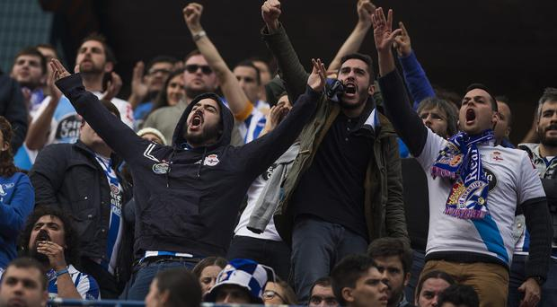 Clashes broke out at the match between Atletico Madrid and Deportivo Coruna. (AP)