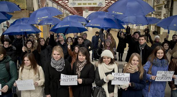 Moldovan students back closer ties with Europe during elections. (AP)
