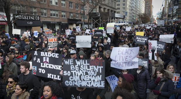 Demonstrators in New York during the Justice for All rally and march (AP)