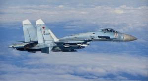 A Russian air force SU-27 Flanker aircraft