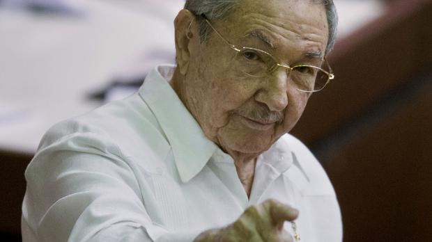 Cuba's president Raul Castro points to the press during the closing of the legislative session at the National Assembly in Havana (AP)