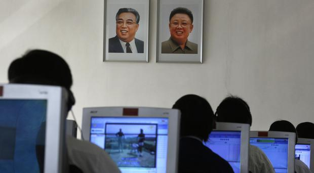 Students use computers in a classroom at the Kim Chaek University of Technology in Pyongyang (AP)