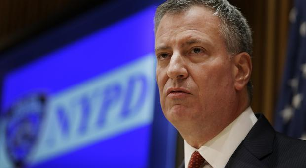 New York City Mayor Bill de Blasio at a news conference at police headquarters (AP)