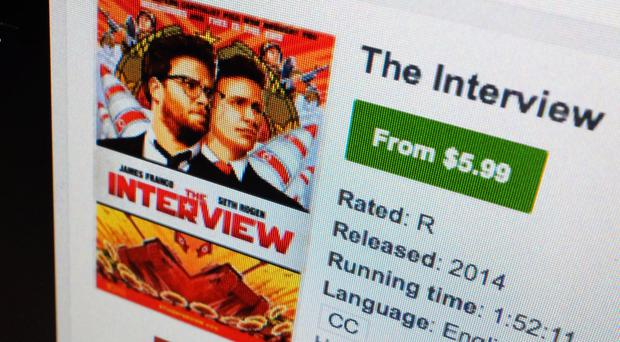 A computer screen shows The Interview available for rental on YouTube Movies (AP)
