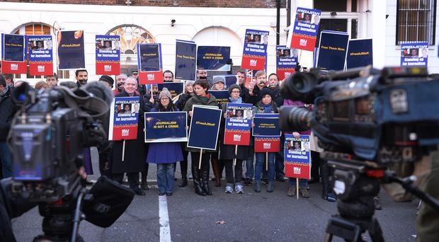 Friends and colleagues of Al-Jazeera journalists Peter Greste, Baher Mohammed and Mohammed Fahmy held a protest outside the Egyptian embassy in London