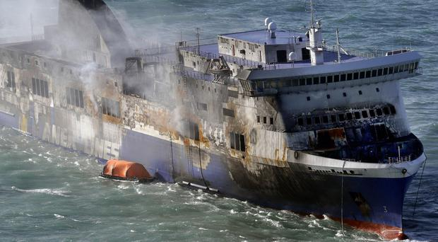 Fire damage on the Norman Atlantic ferry that caught fire in the Adriatic Sea. (AP)
