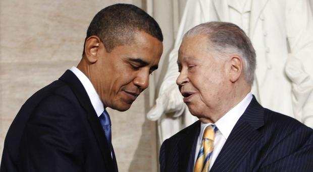 Edward Brooke, right, is congratulated by President Barack Obama on receiving the Congressional Gold Medal honour (AP)