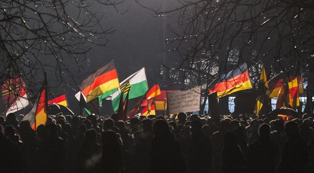 An anti-Islam rally in Dresden, eastern Germany. (AP)