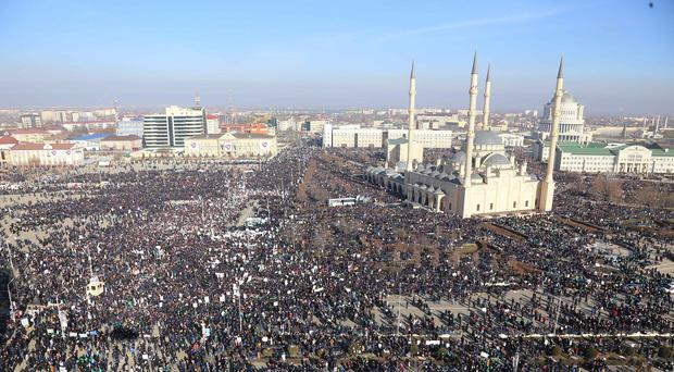 Arial view of a protest rally in the Chechen capital of Grozny (AP)