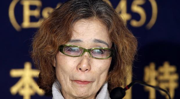 Junko Ishido, mother of Japanese hostage Keni Goto, speaks during a press conference in Tokyo (AP)