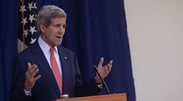Secretary of State John Kerry speaks to the media after meeting Nigerian political leaders (AP)