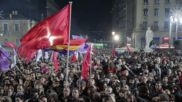 Supporters of Syriza gather in Athens after the party won the general election (AP)
