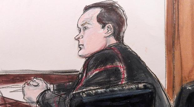 A sketch of Yevgeny Buryakov appearing in federal court in Manhattan after his arrest over a Cold War-style Russian spy ring (AP)