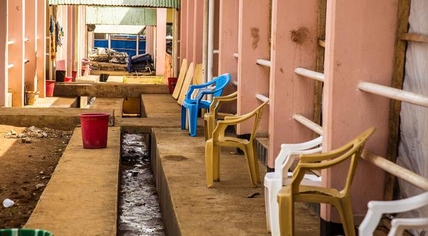 An empty area outside an Ebola recovery ward in Freetown, Sierra Leone. (AP)