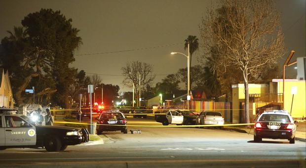 Los Angeles County Sheriffs close the scene of an accident in Compton, California, allegedly involving Suge Knight (AP)